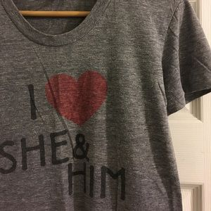 'I ❤️ She & Him' women's t-shirt